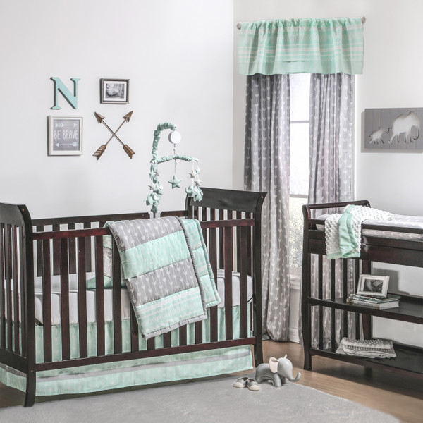 Fantastic Straight and Arrow Crib Bedding Starter Set in Mint & Grey MP27