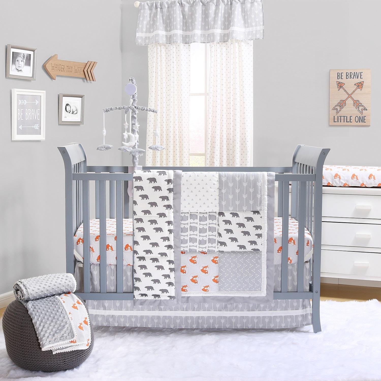 Grey Woodland Crib Bedding Set