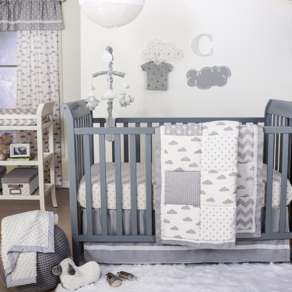 Patchy Cloud Crib Starter Set In Grey