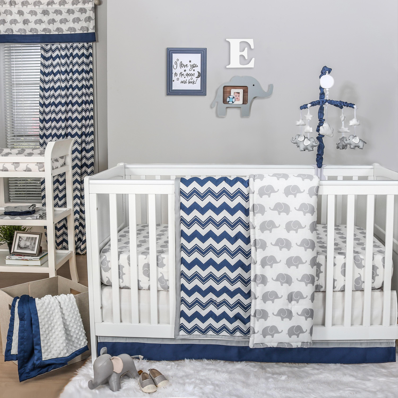 Eli Chevron Crib Starter Set In Navy Grey