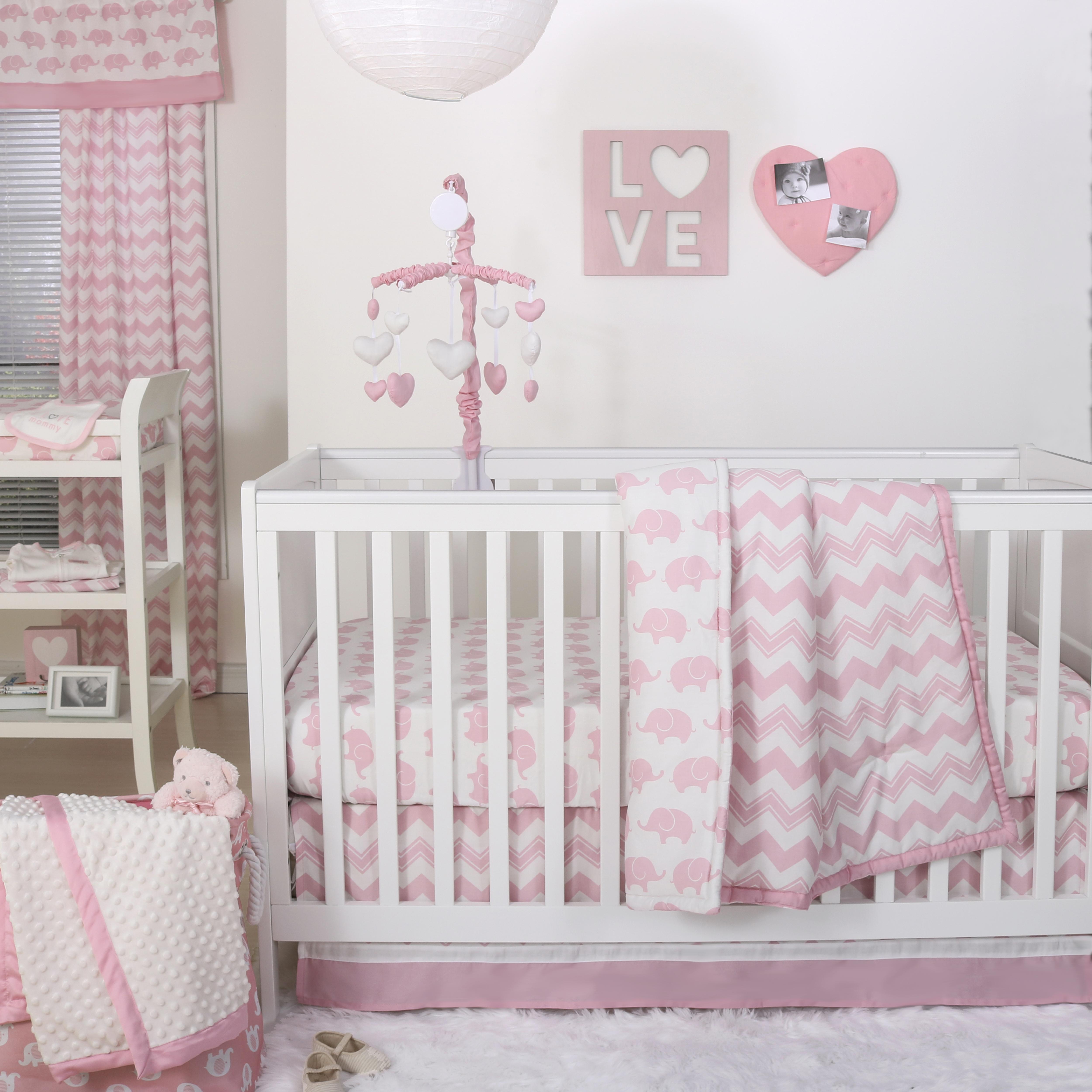 Ellie Chevron Crib Starter Set In Pink