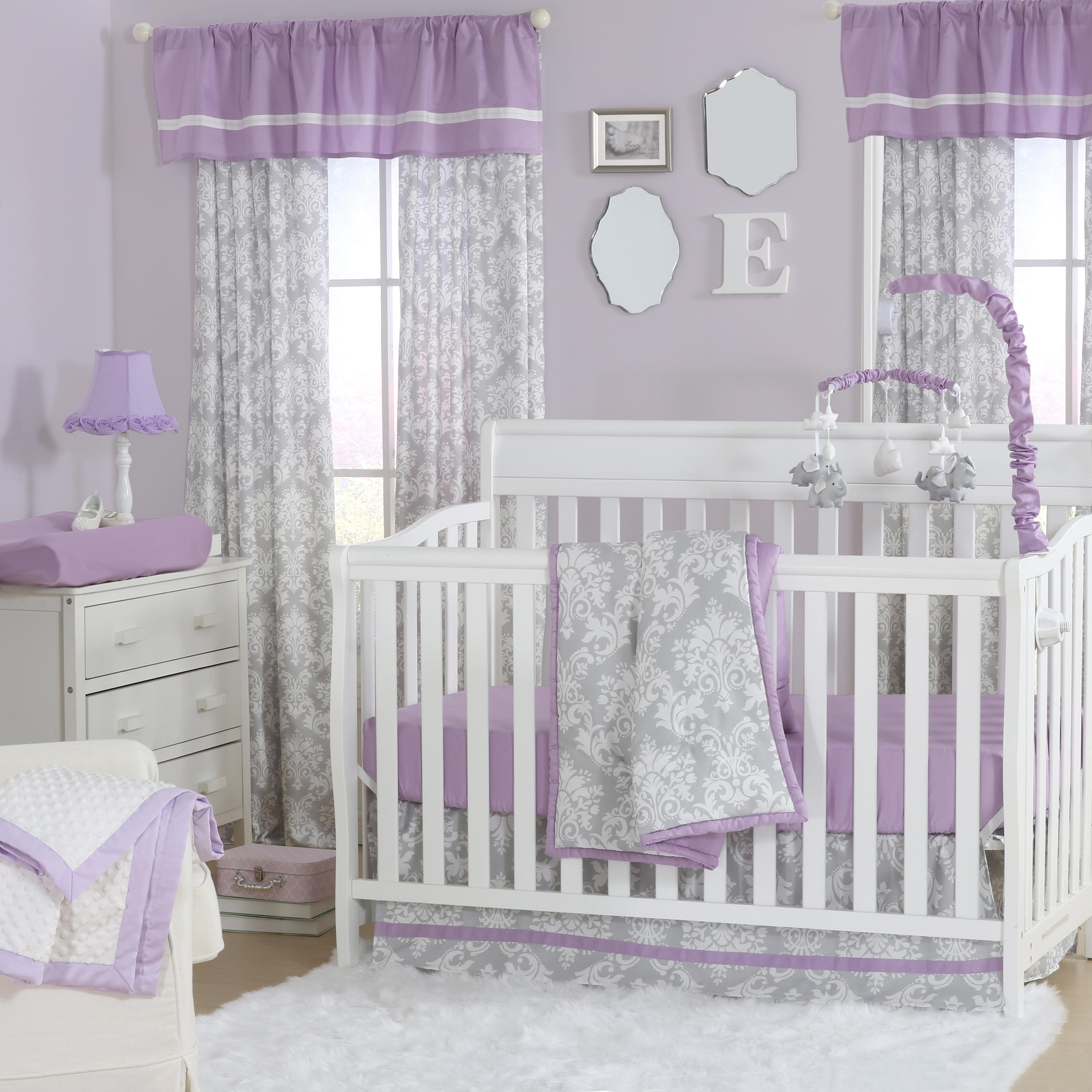 Purple and grey damask bedding - A Combination Of Print And Purple Hues Will Having You Falling For This Sophisticated Nursery Collection Classic Grey And White Damask Is Contrasted With A