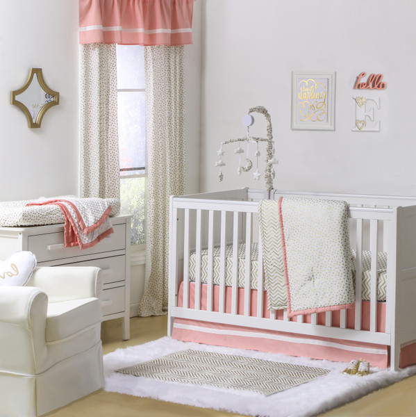 Marion S Coral And Gold Polka Dot Nursery: Confetti Coral Crib Starter Set In Coral & Gold