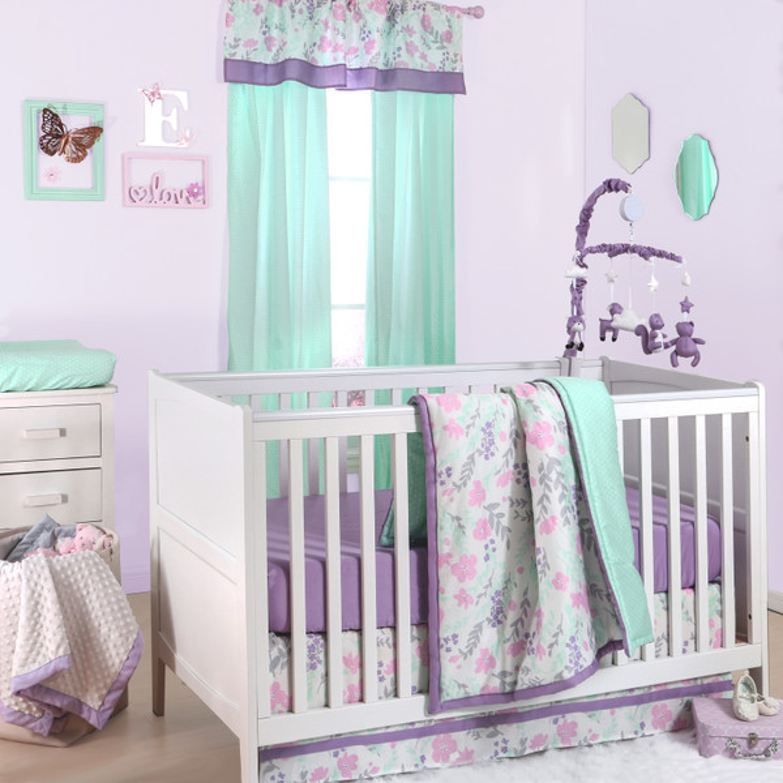 Flower Amp Dew Drop Crib Starter Set In Purple Amp Mint