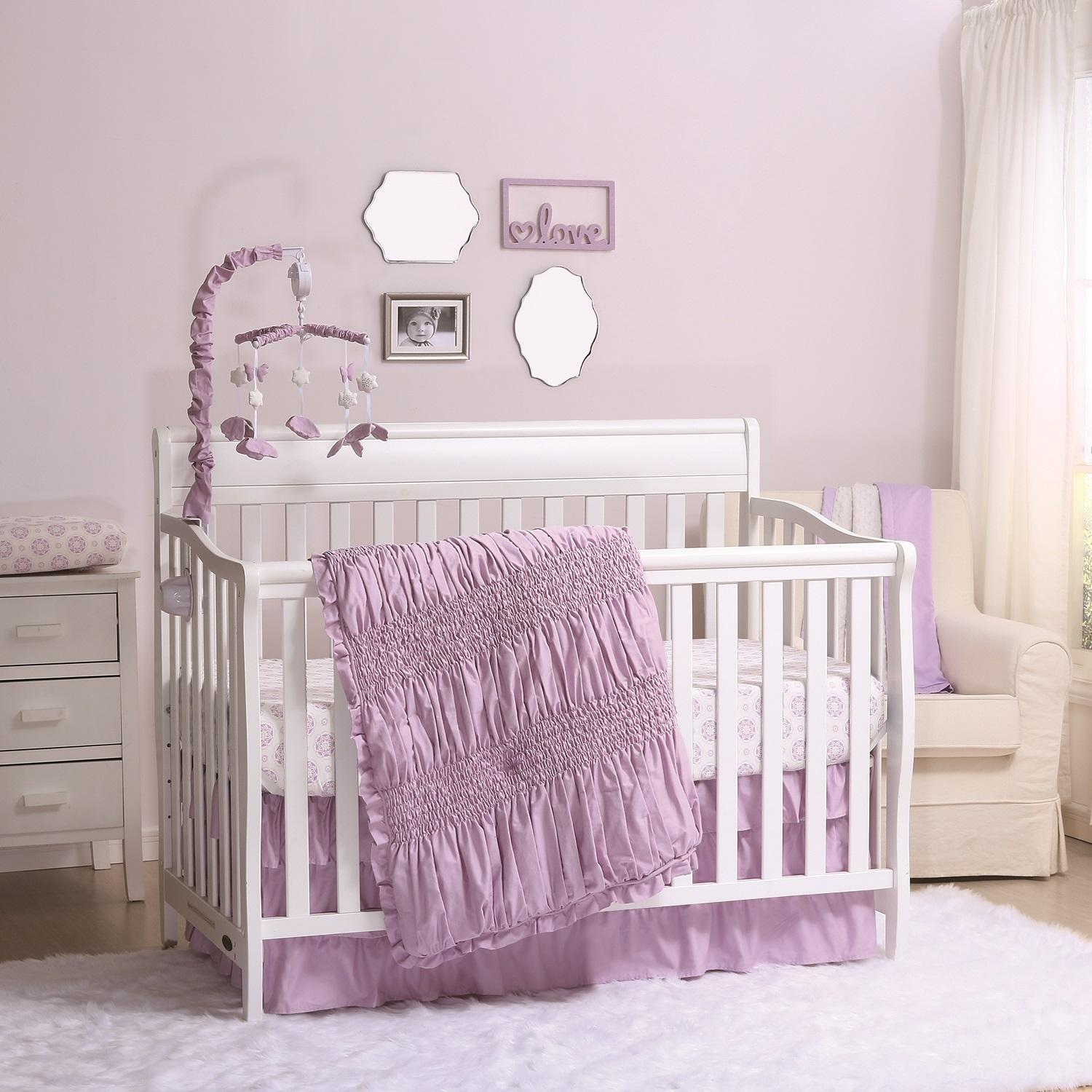 Create A Sweet And Delicate Nursery For Your New Arrival With The Lilac Kisses 3 Piece Crib Bedding Collection We Use Dressmaker S Technique Of