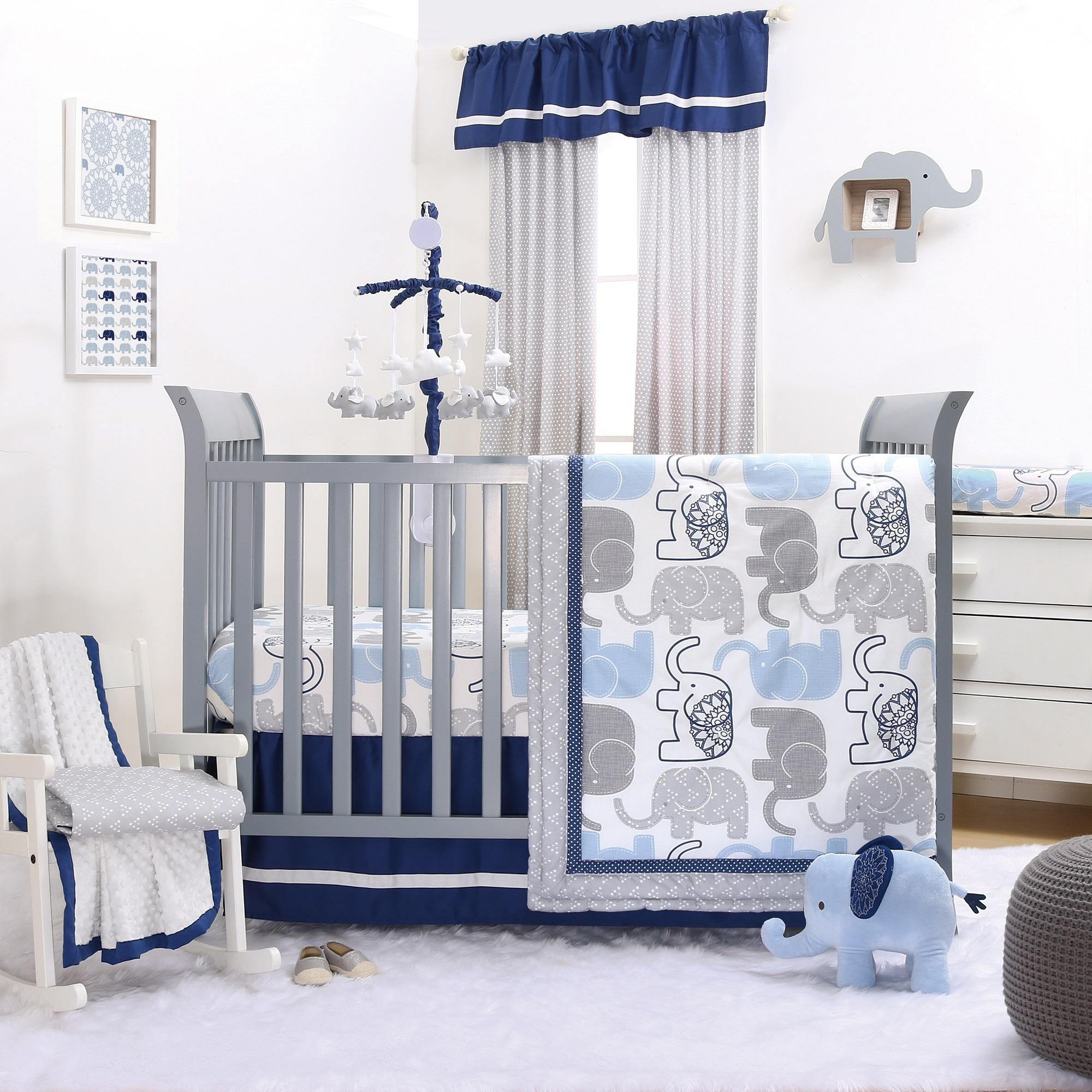 Little Peanut Navy Crib Bedding Set