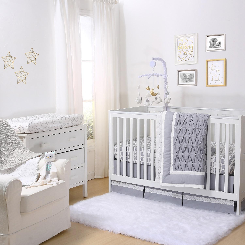 Grey Pleated Crib Bedding Set