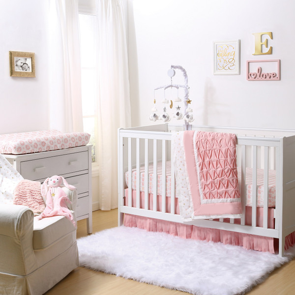 C Pleated Crib Bedding Set