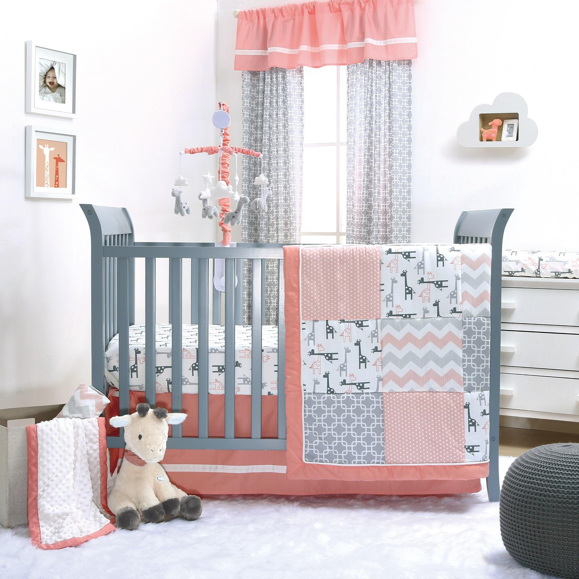 bed girl windows vintage peach baby white nursery metal decor pink bedding