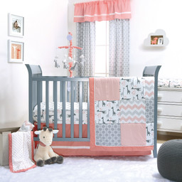 Outfit Your Little Lady S Nursery With This Giraffe Inspired 3 Piece Bedding Set Complete A Ed Sheet Quilt