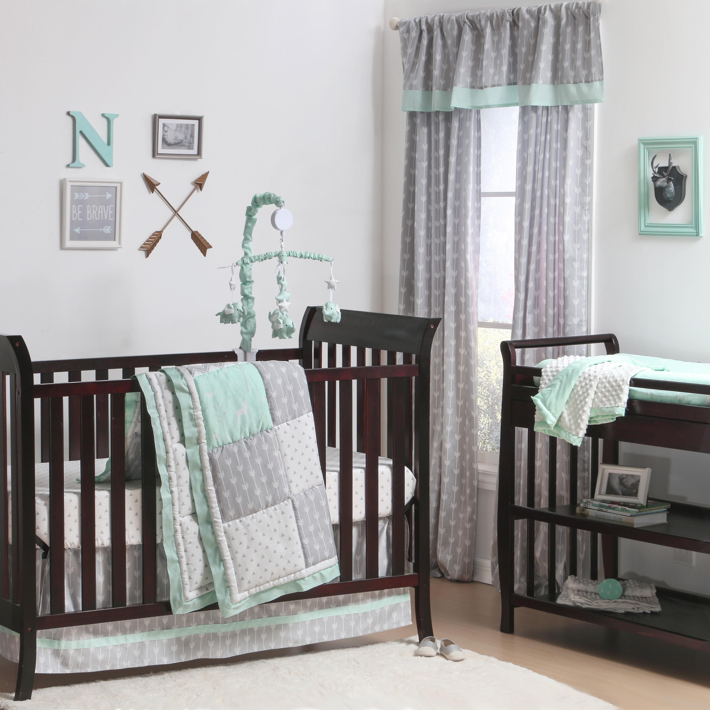 Adventure Patch Crib Starter Set In Mint Grey