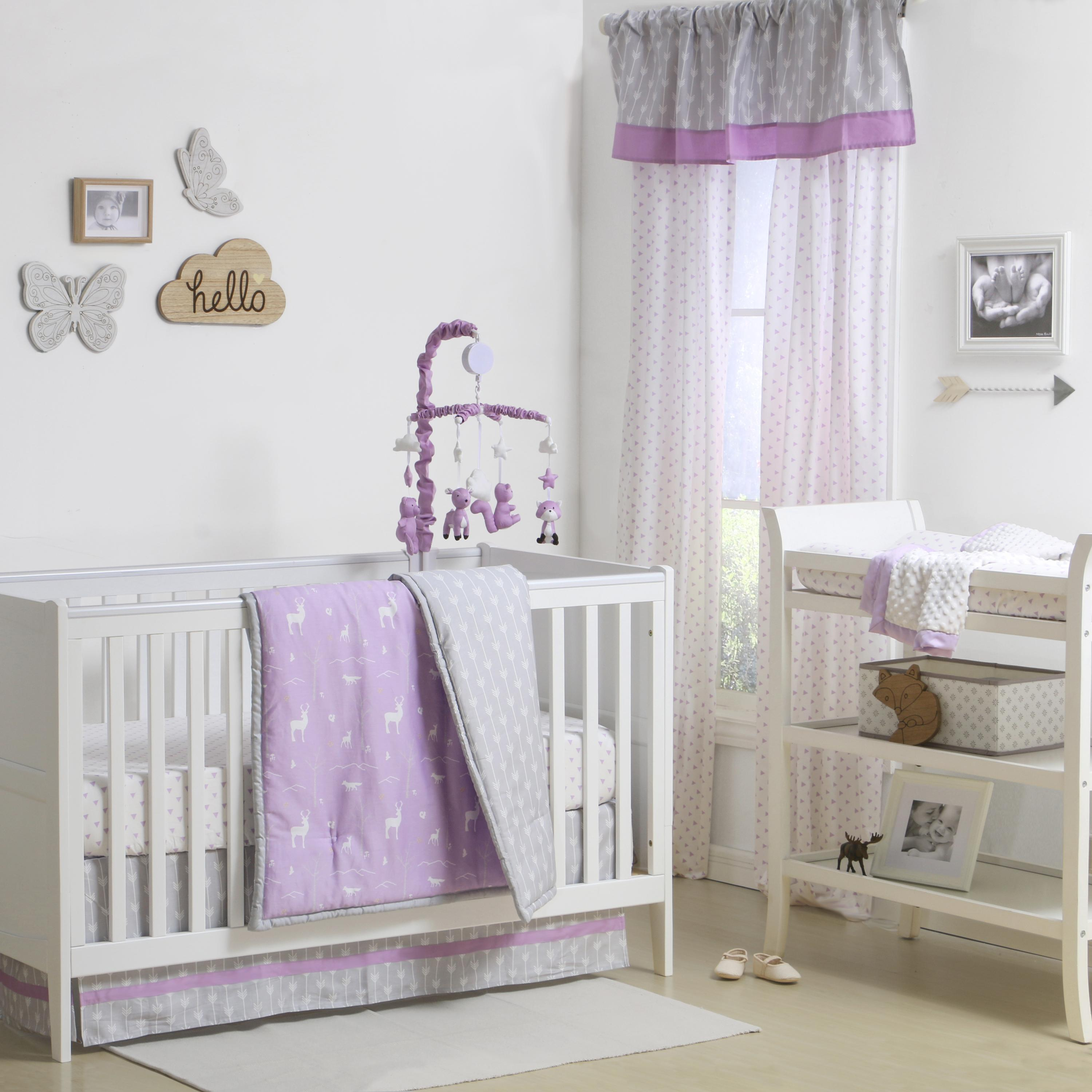 lilac for dust with ruffle pink bedding crib baby pin girly cribs tiers soft and three