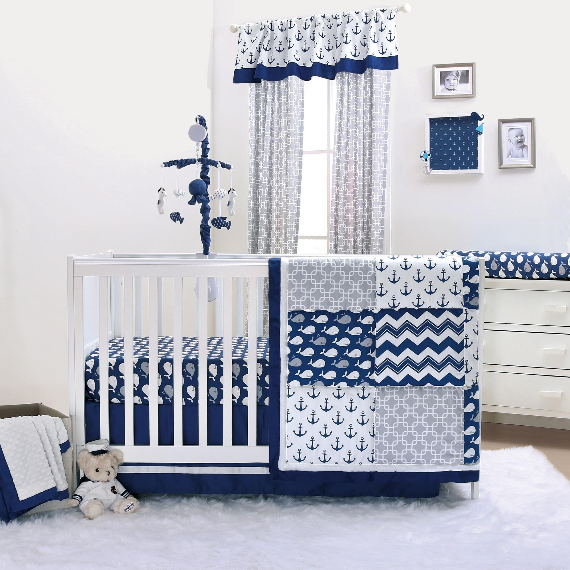 Navy Whale Crib Bedding Set