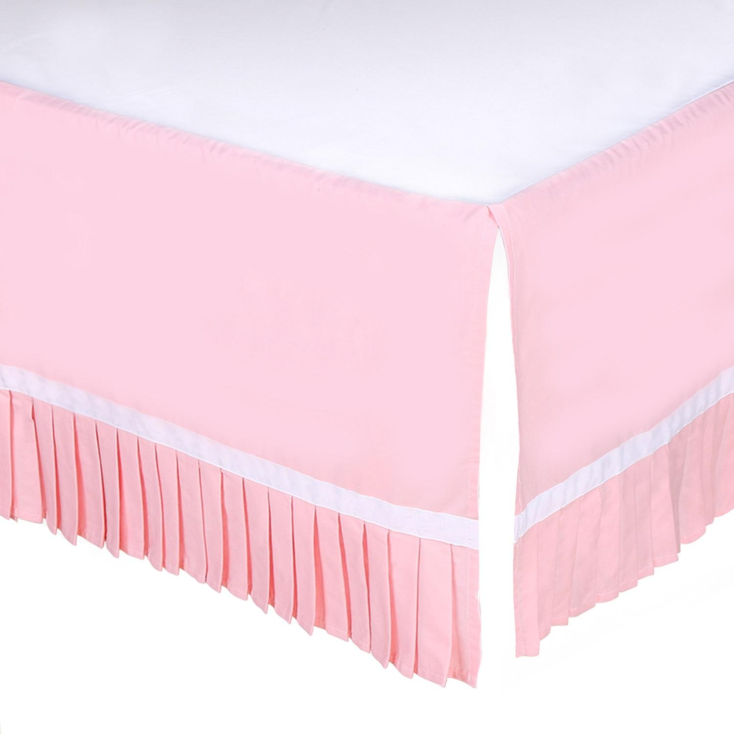chenille crib designs in by and dust carousel for ruffle solid skirt gathered shabby pin pink cribs