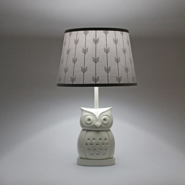 Owl grey arrows lamp whooo is ready for the soft glow from a sweet owl lamp the white resin body is detailed with a dotted belly wide eyes and pointed ears shade the cool aloadofball Choice Image