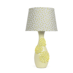 Sweet Flowers Cascade Down The Smooth Surface Of This Pale Yellow Lamp Shade Printed Golden Dots Illuminate White Cotton