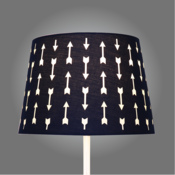 Navy arrows cut out lamp shade arrows point the way to fun with our navy arrows cut out lamp shade the cotton fabric shade has cut out arrows in two directions which allow light to shine aloadofball Choice Image