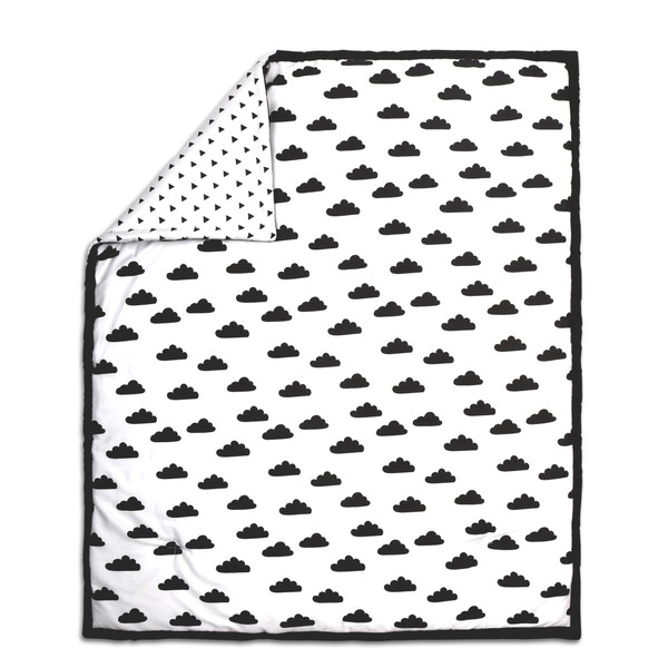 Cloud Print Cotton Quilt In Black Amp White