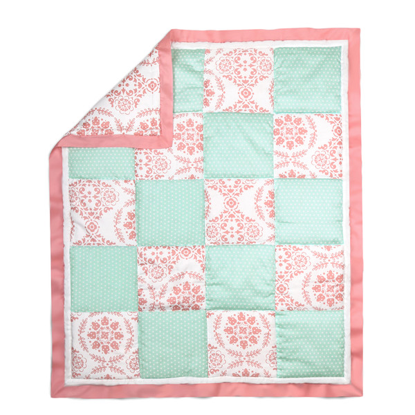 Medallion Patchwork Cotton Quilt In Coral Amp Mint