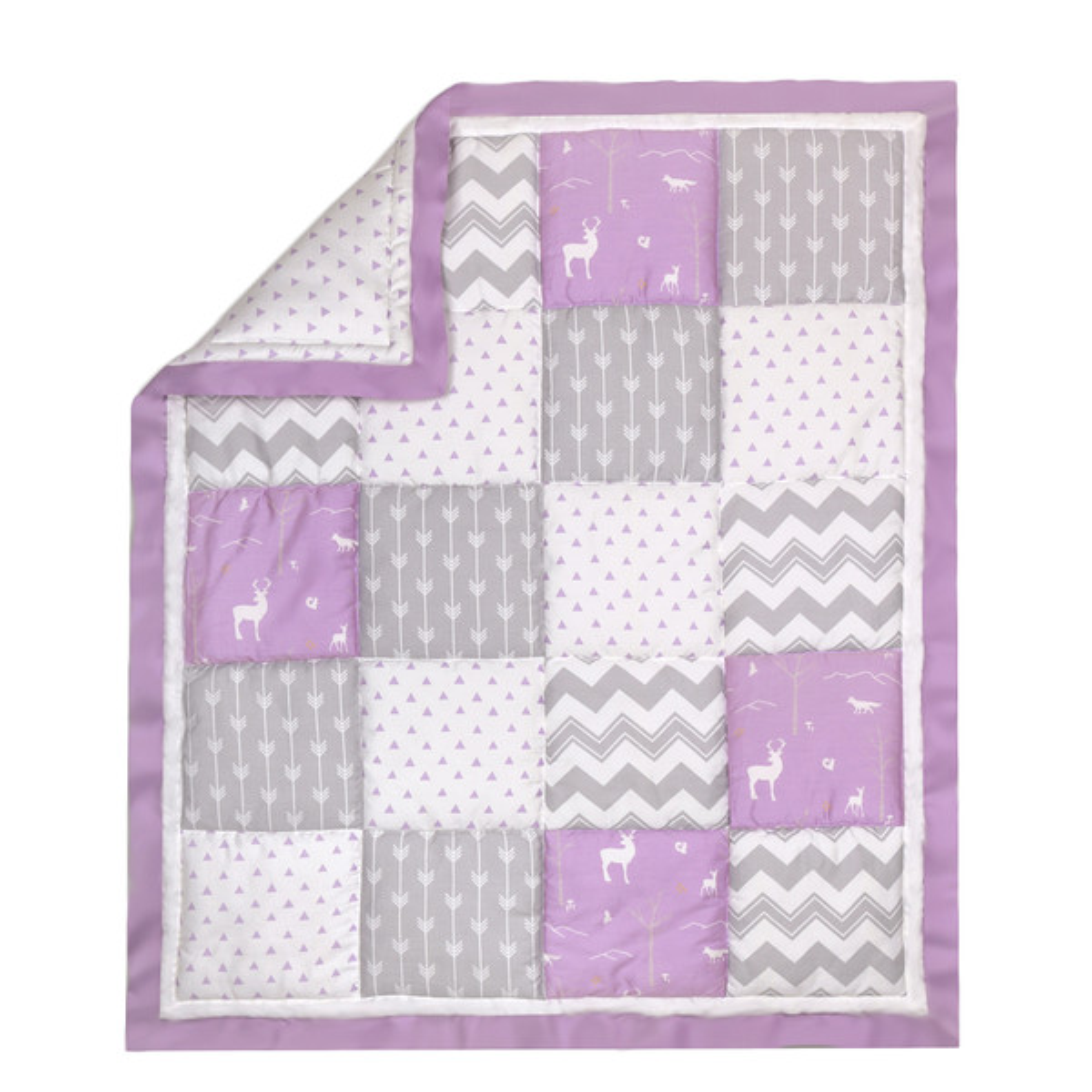 Woodland Patchwork Cotton Quilt In Purple Amp Grey