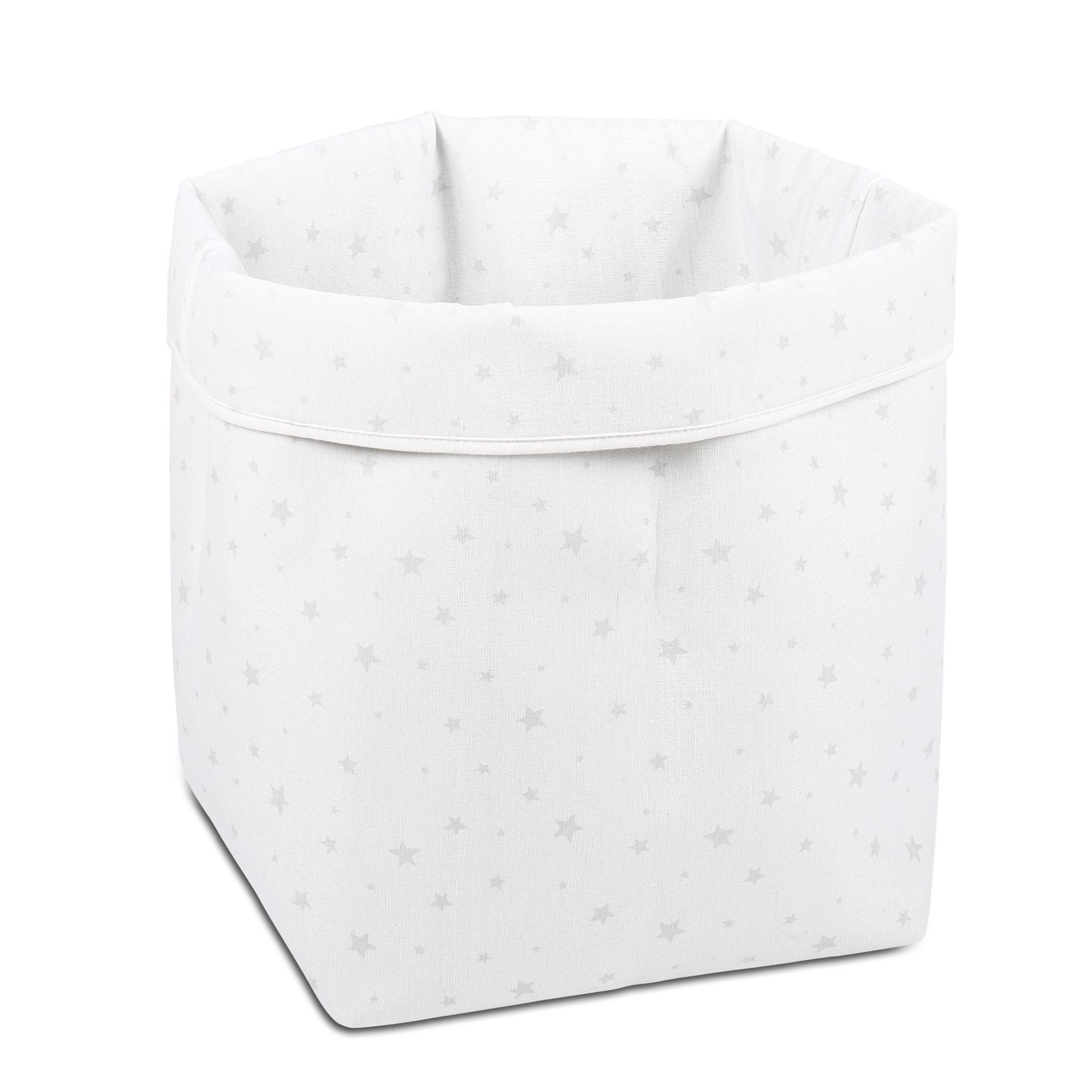the stars large storage bin keeps large items tucked away and organized in the nursery the white and grey stars print is playful yet neutral